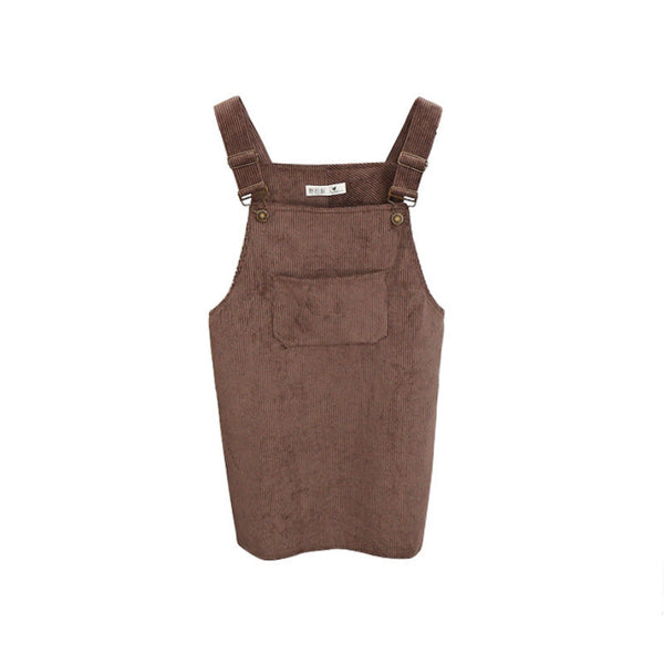 Online discount shop Australia - Korean Style College Wind Restoring Ancient Ways Corduroy Suspenders Big Pocket Straight Vest Dress
