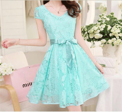 Women Lace Dresses Female V-Neck Bow Sashes Decor Puff Sleeve Show Slim Fair Lady Mid