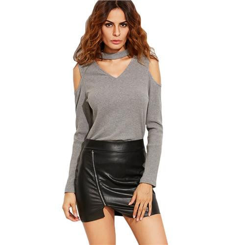 Women Long Sleeve Casual  Tops Heather Grey Cut Out Choker Open Shoulder Ribbed