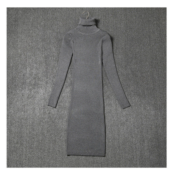 Women Sweater Dresses Black Gray Autumn And Winter Long Sleeve Turtleneck Knitted Knitting Dress