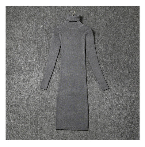 Women Sweater Dresses Black Gray Autumn And Winter Long Sleeve Turtleneck Knitted Sexy Knitting Dress