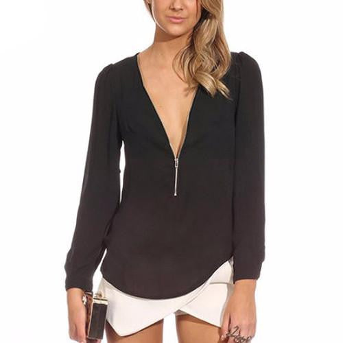 Women's Fashion Casual  V Neck Long Sleeve Zipper Sexy Tops Chiffon Blouses