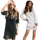 WJ Winter Autumn Women Long Sleeve Warm Lace Knitted Sweater Dresses Black White Slim Bodycon Dress Party Vestidos