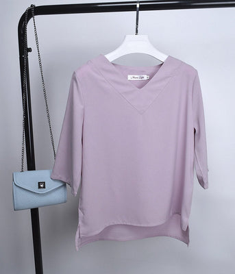 Tops V-neck Chiffon Blouse Shirt Women Office Ladies Top Work Shirts Clothing Korean Plus size S-XL White Blue Pink