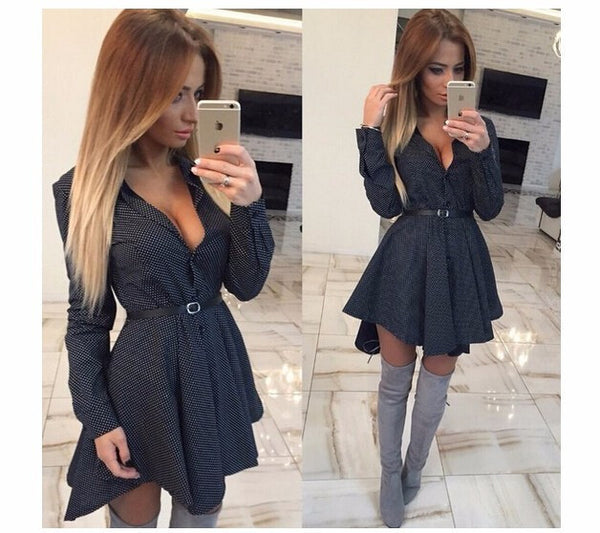 Online discount shop Australia - New autumn fashion Women Shirt Dress Small dots Printed Fashion Irregular Long Sleeve Mini Vestidos dresses