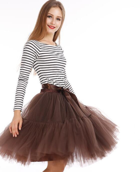 0725be957 Custom made 5 Layers Midi Tulle Skirts Womens Petticoat Belt Tutu Skirt  Chic hippie Ball Gown