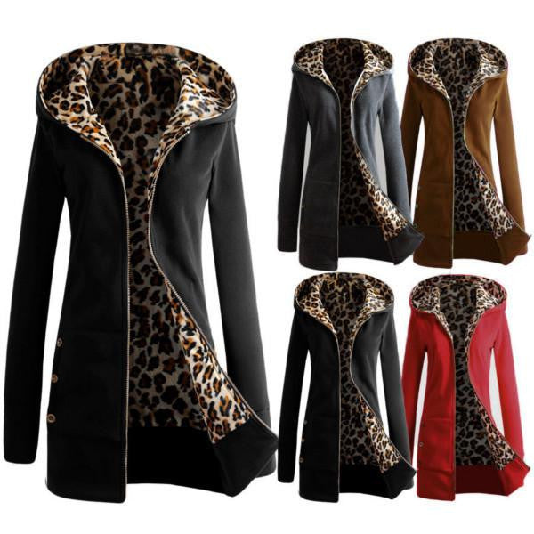 Women Leopard Fleece Zipper Hooded Warm Coat Female Thickening Slim Jacket Casual Outwear Plus Size Overcoat