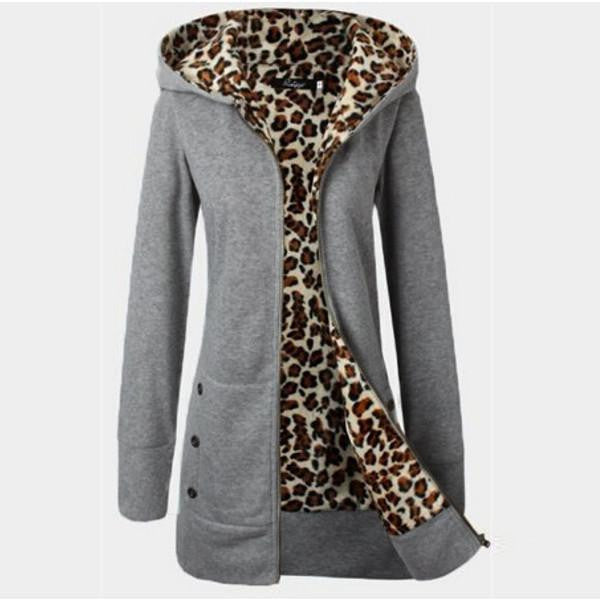 Women Leopard Fleece Zipper Hooded   Warm Coat New Female Thickening Slim Jacket Casual Outwear Plus Size Overcoat