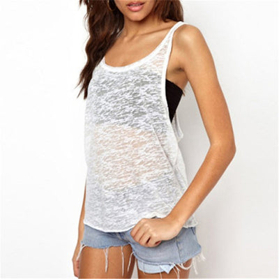 Online discount shop Australia - Hot Women See Through Tank Tops  Fashion Sleeveless O Neck Loose Tops Plus Size Black White Casual Loose Shirt