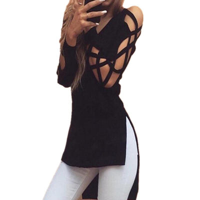 Sexy V-Neck Long Sleeve Women Fashion Shirts Irregular Hem Blouse Black Hollow out Casual Split Tees Loose M0395