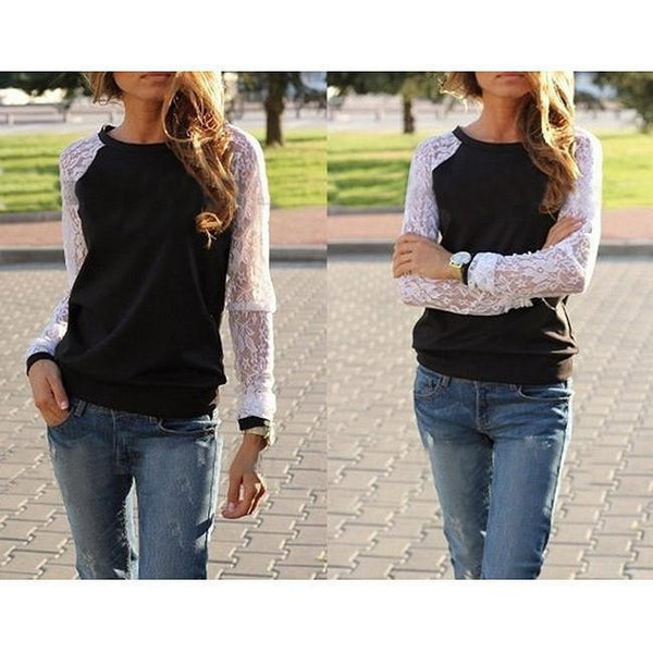 Womens est O-neck Sweatshirts Tops Lace Patchwork Long Sleeve Casual Plus
