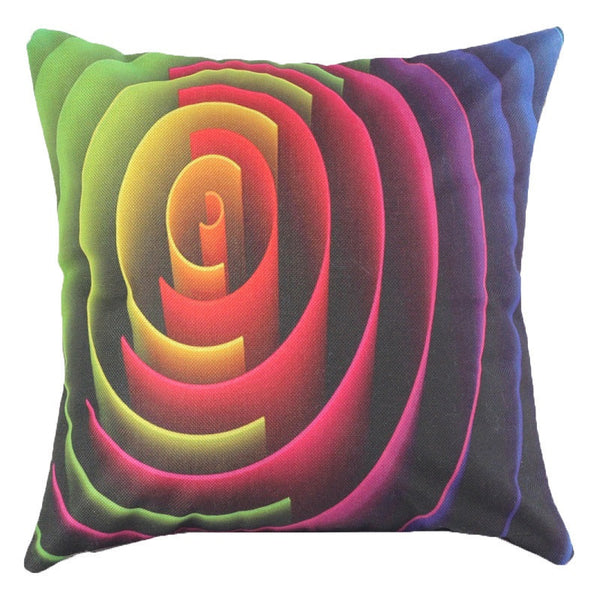 Online discount shop Australia - Colorful 3D Geometric Pattern Throw Pillow Case Cushion Cover 45x45CM (18x18IN) Ribbon Swirl Feather Pillow Cover Home Decor