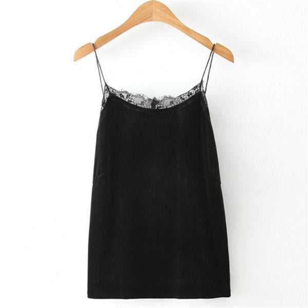 Women Camis Lace Camisole Tank Top Sleeveless Backless Velvet Fabric Spaghetti Strap Vest Tops Female Clothes
