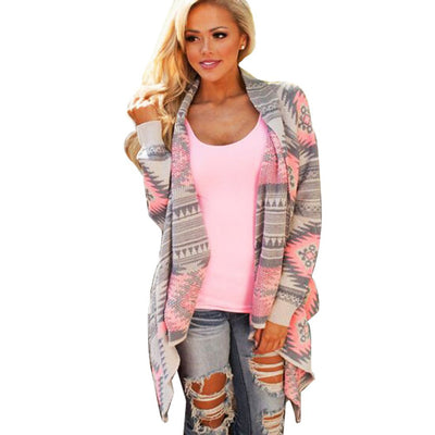 Online discount shop Australia - Blouse Collarless Cardigan Sleeves Poncho Pink Cotton Coat Asymmetrical Tribal Print Cardigan Women Bloues