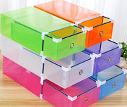 Online discount shop Australia - Candy color Metal-edged Drawer Type Plastic storage box Storage Shoe Box Transparent Shoebox Shoe Box