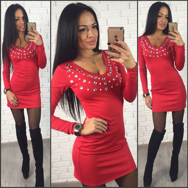 Online discount shop Australia - fashion women sheath dress casual blue red black mini dress v-neck ladies diamonds solid dress