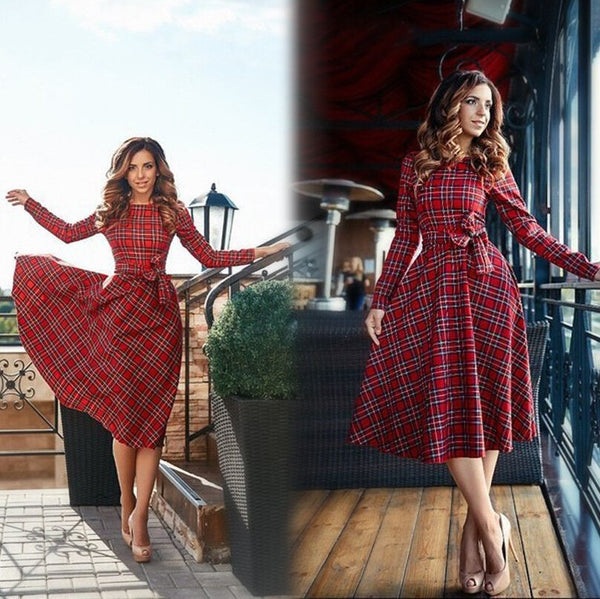 red plaid long sleeve mini dress women o-neck Bow casual dresses Vestidos