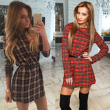 Women Plaid Dresses O-neck Long Sleeve Loose Dresses Casual Mini Dress