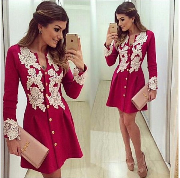 red chiffon dress long sleve v-neck lace dresses button above knee dress