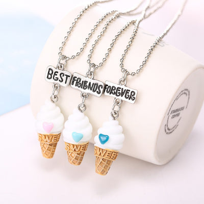 Online discount shop Australia - Best Friends BFF resin ice-cream pendant bead chain necklace,3 colors lead nickel cadmium free kids jewelry