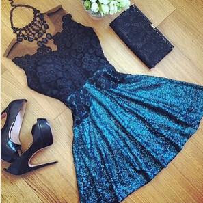 Women Sexy Lace Hollow Dress Summer Style Perspective Dresses O-neck Casual Vestidos fashion Dress