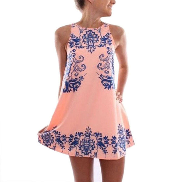 Summer Dress Fashion Women Sleeveless Vestidos Blue And White Porcelain Print Chic Mini Dress