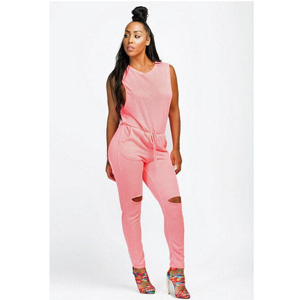 bbb7ef4cdd8fa Women Jumpsuit Sexy Bodysuit Bodycon Drawstring Sleeveless One Piece Pant Hollow  Plus Size Rompers