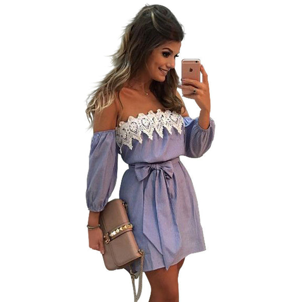 Online discount shop Australia - Elastic Sexy Off Shoulder Blue Striped Mini Dress Women Girl Casual Short White Applique Party Dress With Belt