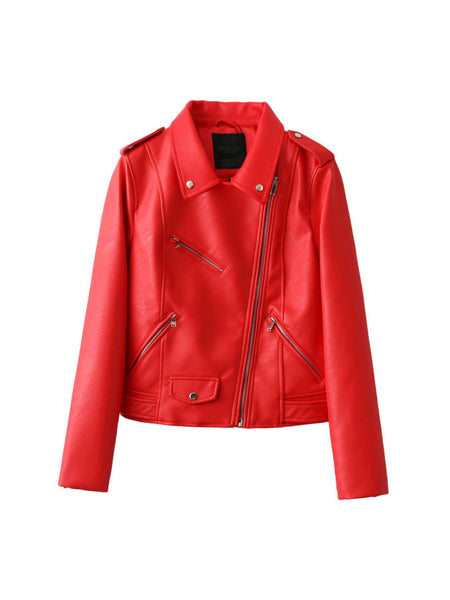 Online discount shop Australia - New Arrive Fashion Street High quality Women's Short Washed PU Leather Jacket Zipper Bright Colors Ladies Basic Jackets