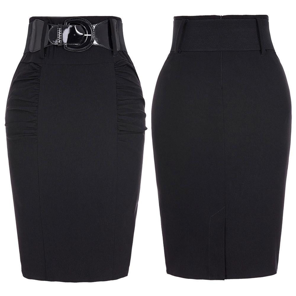 066592e9f Women Pencil Skirts Casual Black Midi Skirt Slim OL Fitted High Waist  Female Ladies Skirts Saia Sexy Bodycon Office Skirt Faldas