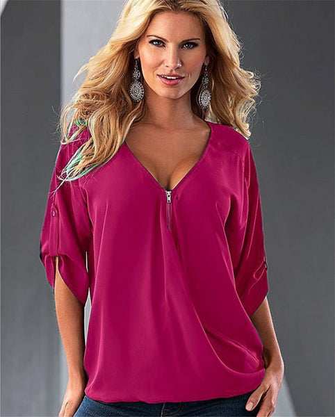 Online discount shop Australia - Casual Temperament Women  Sexy V-Neck Solid Long-Sleeve Shirt Top Blouse Party Clothing