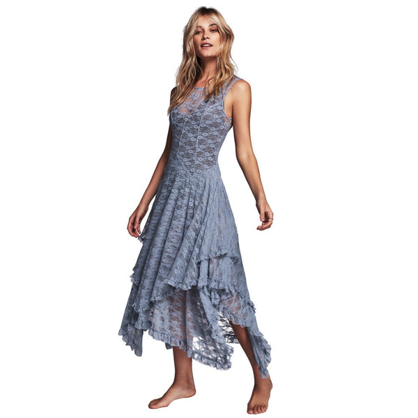 Online discount shop Australia - Boho People hippie Style Asymmetrical embroidery Sheer lace dresses double layered ruffled trimming low V-back (No lining)