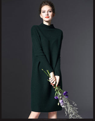 Online discount shop Australia - Autumn Dress vestidos Loose Long-Sleeved sweater Thin Solid Color Knit for down halloween costumes for women