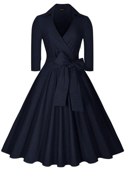 Vintage Hepburn Dress Female V-neck Solid 3/4 Sleeve Solid Ball gown Dress Women Casual Party Dresses size S M L XL XXL