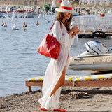 Women Chiffon Swimwear Long Sleeve White Maxi Beach Dress Ladies