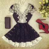 Women Casual Dress Deep V Lace Mini Short Dresses Backless A-Line Floral Party Evening Vestidos