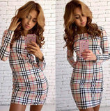 Online discount shop Australia - Brand New Autumn Winter Dress Fashion trends Plaid Printed Dress Slim Package hip Casual Sexy Dress Women Dresses Vestidos