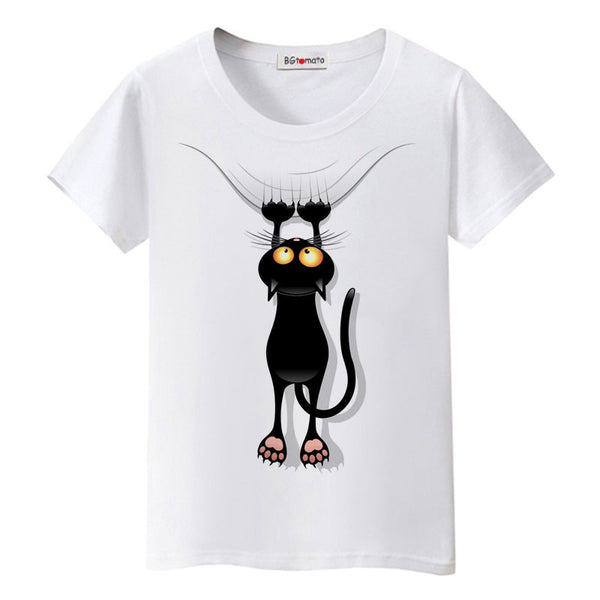 naughty black cat 3D t shirt women lovely cartoon shirt Good quality comfortable brand casual tops