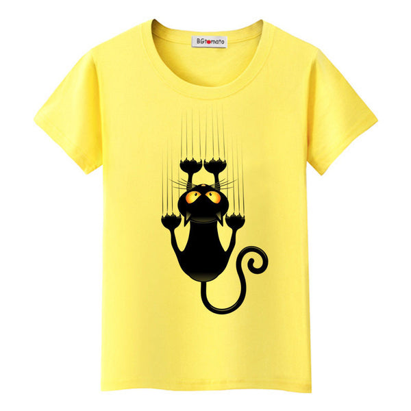 naughty black cat 3D t shirt women lovely cartoon shirt Good comfortable brand casual tops