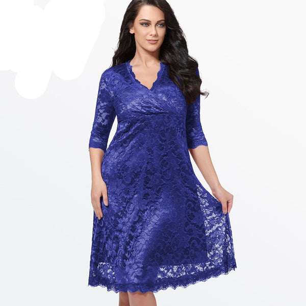 Online discount shop Australia - Lace Dress Women Sexy V-Neck Half Sleeve A-line Party gown Knee-Length large size dress Plus Size Lace Dresses