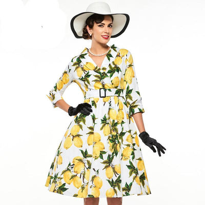 Sisjuly women floral vintage dress lemon print party dress style 1950s rockabilly dress vestido luxury pleated vintage dresses