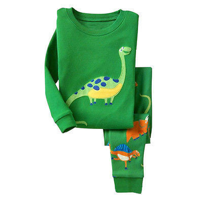 Online discount shop Australia - Kids Baby Boy Girls Cotton Dinosaur Print Pyjamas Set Nightwear Sleepwear Homewear 1-7T