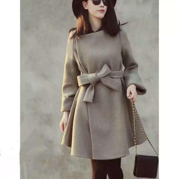 Women Trench Woolen Coat Plus Size Long Coats Women Jacket Outerwear Full Sleeve Solid High