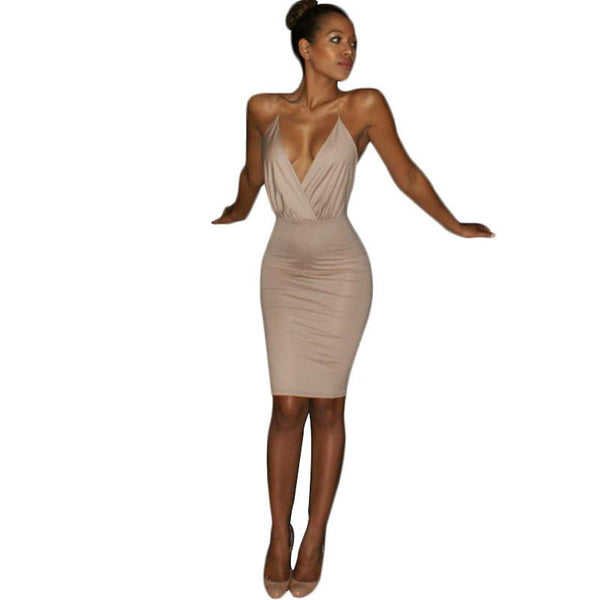 Sexy Fashion Backless Spaghetti Strap Jurken Dress Deep V Slim Was Thin Femmio Vestidos Over Hips Knee-Length Robe FC372