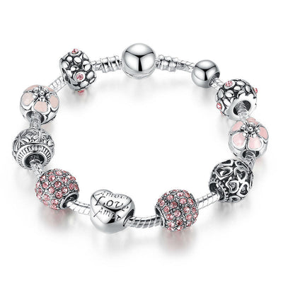 Online discount shop Australia - Antique 925 Silver Charm Bangle & Bracelet with Love and Flower Crystal Ball Women Wedding Valentine's Day Gift PA1455