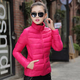 Online discount shop Australia - jacket women stand collar long-sleeve short paragraph thin and light jacket female coat big yards women