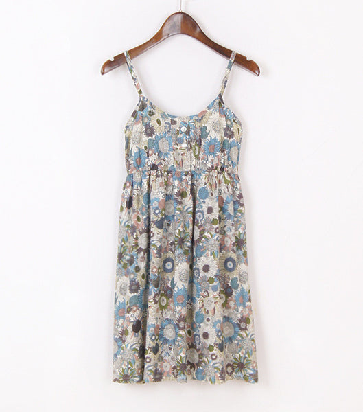 Online discount shop Australia - Fashion Summer Mori Girl Dress O Neck Sleeveless Print Floral Vestidos Women Sexy Beach Spaghetti Strap Dress