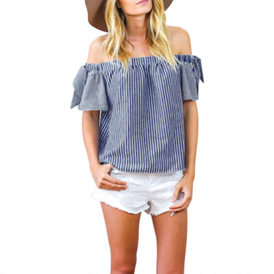 Online discount shop Australia - Fashion Off Shoulder Blue Striped Women Blouses Crochet Shirts Women Tops  Slash Neck Blouses Blusa  Women Tops