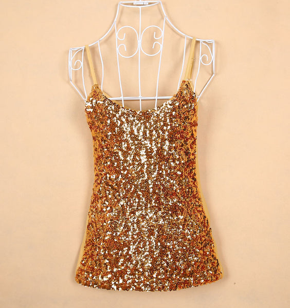 Online discount shop Australia - Europe Tank Tops  Womens party vest Europe sequined Paillette tank top