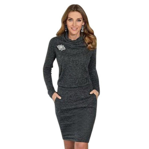 Women Ladies Long Sleeve Turtleneck Short Sweater Dress Pullover Slim Jumper TQ